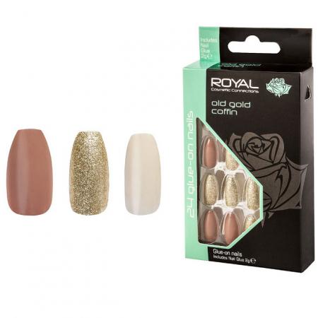 Set 24 Unghii False ROYAL Glue-On Nail Tips, Old Gold Coffin, Adeziv Inclus 2 g