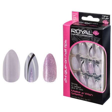 Set 24 Unghii False ROYAL Glue-On Nail Tips, Make A Wish Stiletto, Adeziv Inclus 3 g