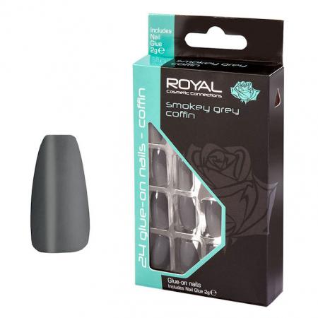 Set 24 Unghii False ROYAL Glue-On Nail Tips, Smokey Grey Coffin, Adeziv Inclus 2 g