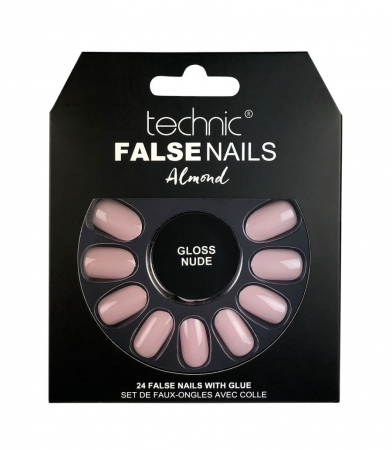 Set 24 Unghii False cu adeziv inclus Technic False Nails, Almond, Gloss Nude