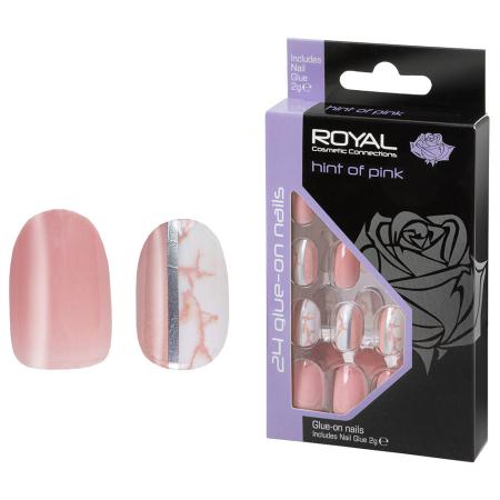 Set 24 Unghii False ROYAL Glue-On Nail Tips, Hint Of Pink, Adeziv Inclus