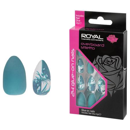Set 24 Unghii False ROYAL Glue-On Nail Tips, Overboard Stiletto, Adeziv Inclus