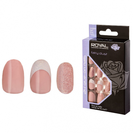 Set 24 Unghii False ROYAL Glue-On Nail Tips, Fairy Dust, Adeziv Inclus 3 g