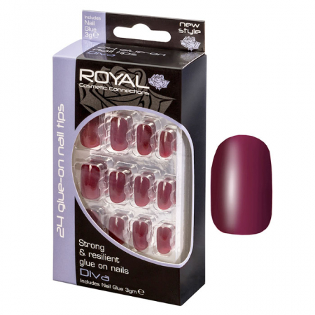 Set 24 Unghii False ROYAL Glue-On Nail Tips, Diva, Adeziv Inclus 3 g
