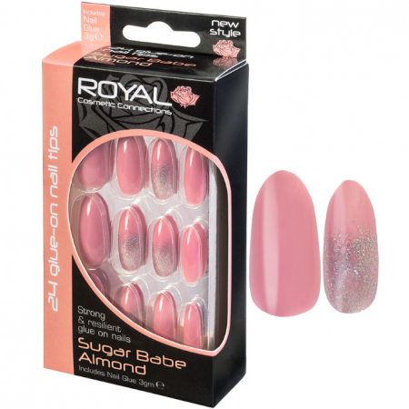 Set 24 Unghii False ROYAL Glue-On Nail Tips, Sugar Babe Almond, Adeziv Inclus 3 g