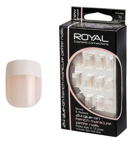 Set 24 Unghii False ROYAL Glue-On Nail French Manicure Petite Nails, Adeziv Inclus 3 g