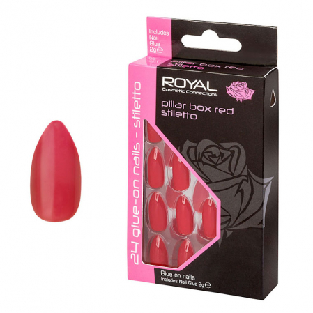 Set 24 Unghii False ROYAL Glue-On Nail Tips, Pillar Box Stiletto, Adeziv Inclus