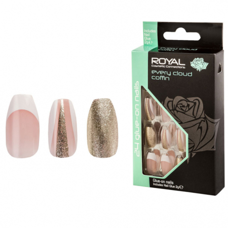 Set 24 Unghii False ROYAL Glue-On Nail Tips, Every Cloud Coffin, Adeziv Inclus 2 g