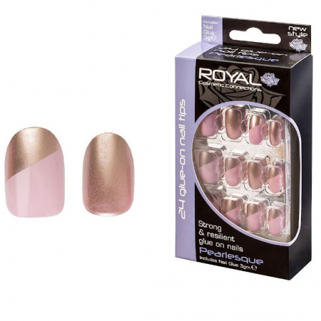Set 24 Unghii False ROYAL Glue-On Nail Tips, Pearlesque, Adeziv Inclus 3 g