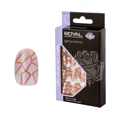 Set 24 Unghii False ROYAL Glue-On Nail Tips, Geometric, Adeziv Inclus 2 g
