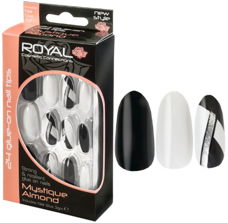 Set 24 Unghii False ROYAL Glue-On Nail Tips, Mystique Almond, Adeziv Inclus 3 g