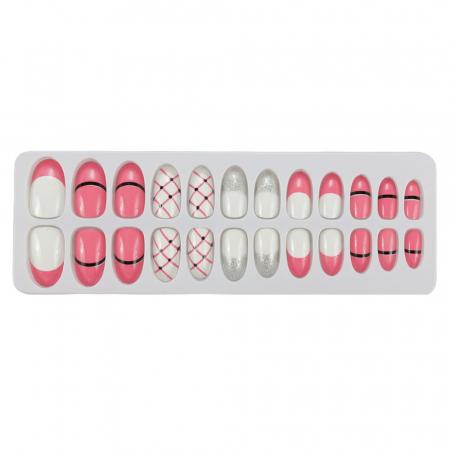 Set 24 Unghii False Tips cu aspect natural, Salon Nails, 09 Pink Icecream