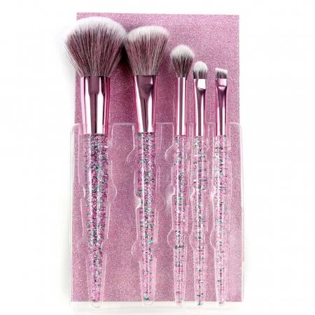 Set 5 Pensule cu Glitter pentru machiaj, Complexion 5 Brush Kit