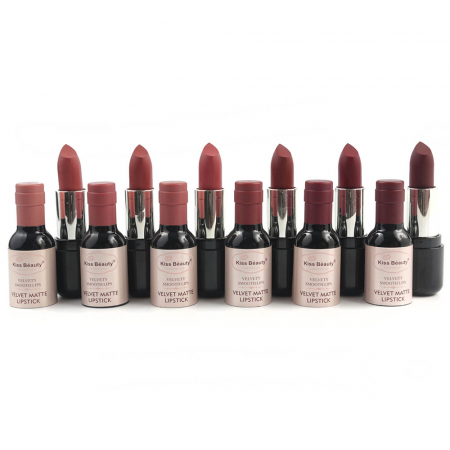Set 6 Rujuri Mate rezistente la transfer 12h, Kiss Beauty WINE LIPSTICK, Merlot (13-18)1
