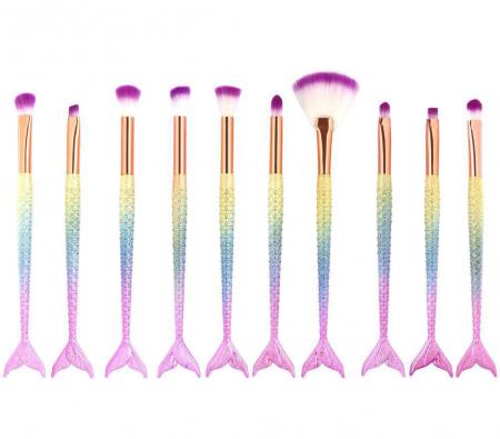 Set 10 Pensule Profesionale de tip SIRENA Lilyz Mermaid pentru ochi, sprancene si corector1