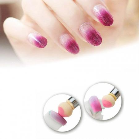 Pensula unghii cu burete pentru Ombre Baby Boomer + 4 rezerve, Nail Art Tool, Purple1
