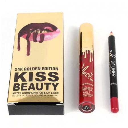 Set buze Kiss Beauty cu Ruj Lichid Mat si Creion de buze, 12 Amore