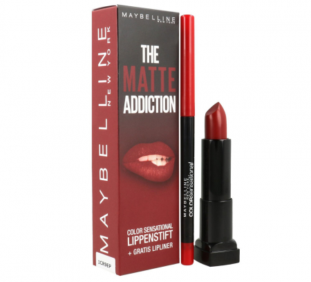 Kit Buze Maybelline The Matte Addiction Color Sensational: Ruj 05 Cruel Baby si Creion de Buze 90 Brick Red