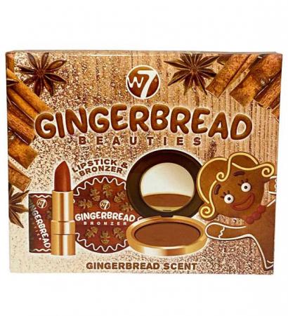Set cadou cu aroma de Turta Dulce cu Ruj si Pudra bronzanta iluminatoare W7 Gingerbread Beauties Gift Set