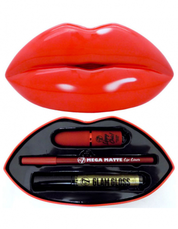 Set Cadou pentru Buze W7 Kiss Kit, Red Alert