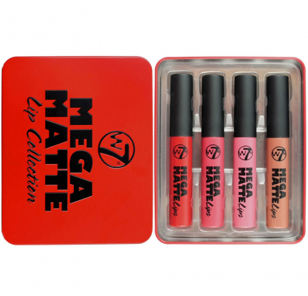 Set Cadou pentru Buze W7 Mega Matte Lip Collection, 4 Mega Matte Lipsticks