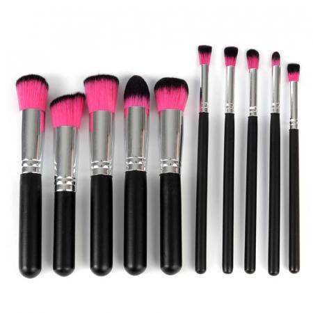 Set de 10 Pensule Profesionale pentru machiaj PINK Black2