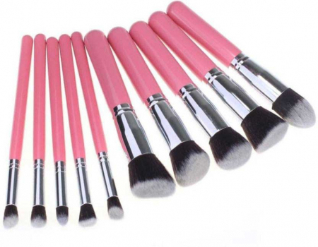Set de 10 Pensule Profesionale Top Quality Kabuki Lilyz, Pink1