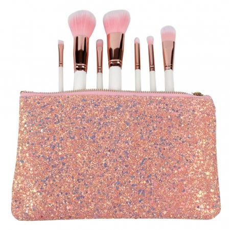 Set de 7 Pensule Profesionale din Par Natural cu borseta, Glitter Diamonds2