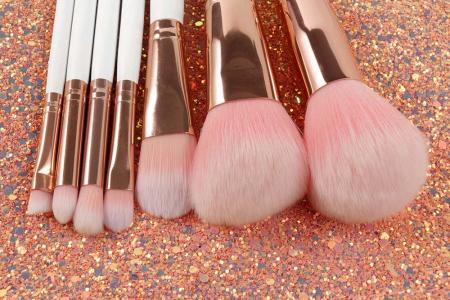 Set de 7 Pensule Profesionale din Par Natural cu borseta, Glitter Diamonds3