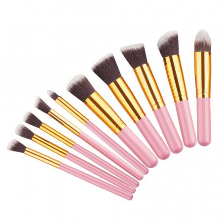Set de 10 Pensule Profesionale Top Quality Kabuki, Pink Gold