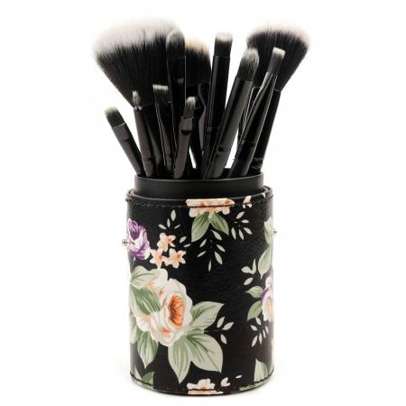 Set de 12 Pensule Profesionale pentru Machiaj cu Suport, Vintage Flowers3
