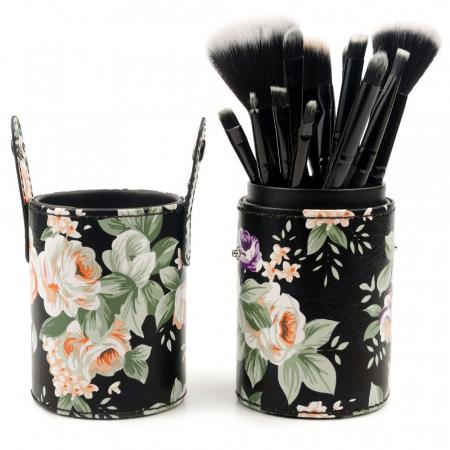 Set de 12 Pensule Profesionale pentru Machiaj cu Suport, Vintage Flowers0