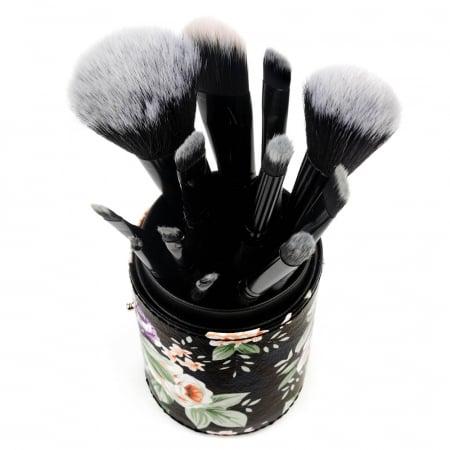 Set de 12 Pensule Profesionale pentru Machiaj cu Suport, Vintage Flowers2