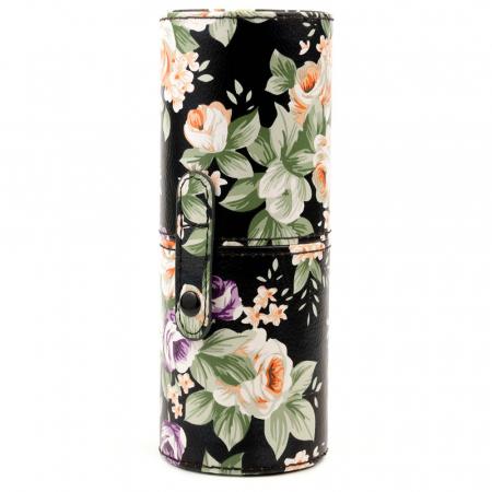 Set de 12 Pensule Profesionale pentru Machiaj cu Suport, Vintage Flowers4