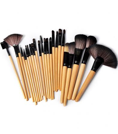 Set de 24 Pensule Profesionale pentru machiaj din par natural, Top Quality Natural Wood1
