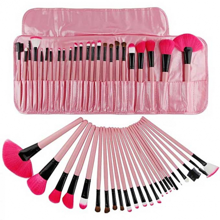 Set de 24 Pensule Profesionale Top Quality Lilyz, mix de par natural, Pink3