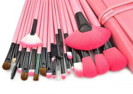 Set de 24 Pensule Profesionale Top Quality Lilyz, mix de par natural, Pink6