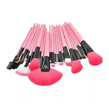 Set de 24 Pensule Profesionale Top Quality Lilyz, mix de par natural, Pink2