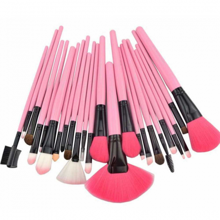 Set de 24 Pensule Profesionale Top Quality Lilyz, mix de par natural, Pink4