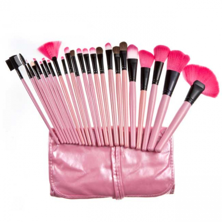 Set de 24 Pensule Profesionale Top Quality Lilyz, mix de par natural, Pink5