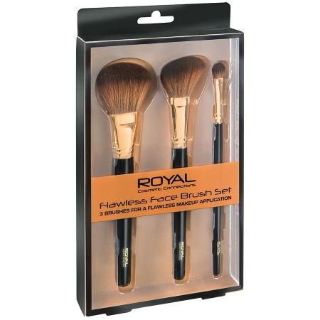 Set de 3 pensule pentru machiajul tenului ROYAL Flawless Face Brush
