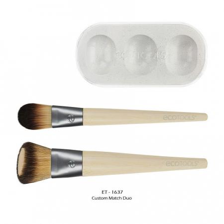 Set de 2 pensule profesionale ECOTOOLS Custom Match Duo, cu tavita pentru blending si curatare2