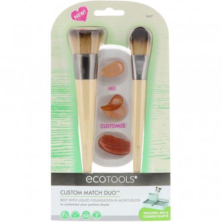 Set de 2 pensule profesionale ECOTOOLS Custom Match Duo, cu tavita pentru blending si curatare