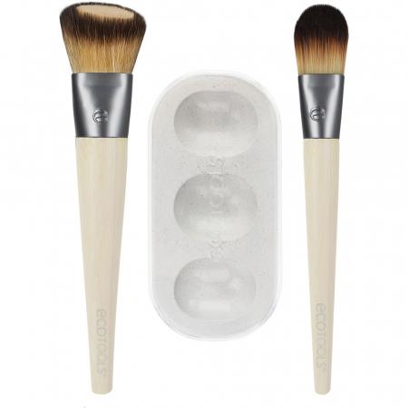 Set de 2 pensule profesionale ECOTOOLS Custom Match Duo, cu tavita pentru blending si curatare1