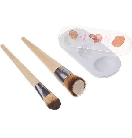 Set de 2 pensule profesionale ECOTOOLS Custom Match Duo, cu tavita pentru blending si curatare5