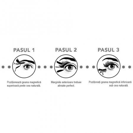 Set Gene False Profesionale cu prindere magnetica in 3 magneti, Reutilizabile, Negru intens, Eyelash 0141