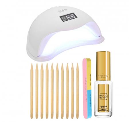 Set Lampa profesionala unghii UV LED SUN5, 48 W cu 10 Betisoare Portocal, Pila 7 fete si Tratament Cuticule L'Oreal Paris