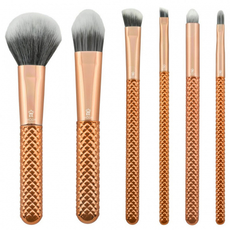 Set pensule profesionale Royal & Langnickel MODA Metallics Total Face Flip Kit, 7 piese, Rose Gold