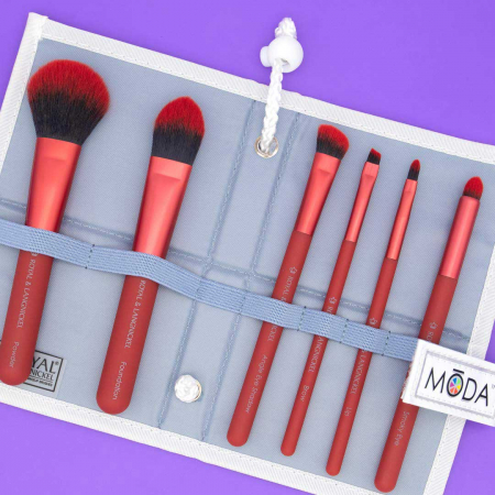 Set pensule profesionale Royal & Langnickel MODA Total Face Flip Kit, 7 piese, Red7
