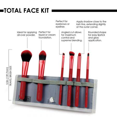 Set pensule profesionale Royal & Langnickel MODA Total Face Flip Kit, 7 piese, Red4